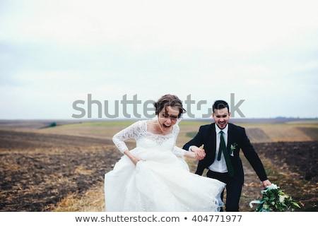 Stock fotó: érzelmes · pillanat · esküvő · nap · gyönyörű · friss · házas