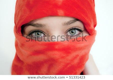 Pretty woman in red shawl Stock photo © Nobilior