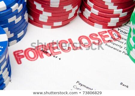 пари · дома · фишки · для · покера · ипотечный · документа · текущий - Сток-фото © Qingwa