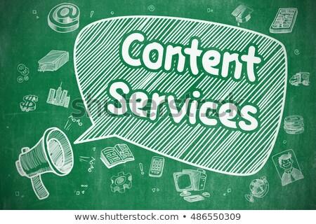 Content Services - Cartoon Illustration on Green Chalkboard. Stock photo © tashatuvango