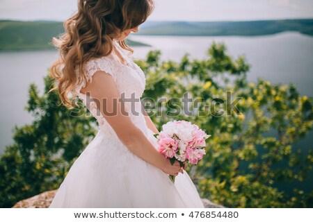 Braut · stehen · Strand · weiblichen - stock foto © dashapetrenko
