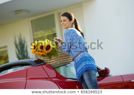 Mujer comestibles coche eléctrico casa coche Foto stock © IS2
