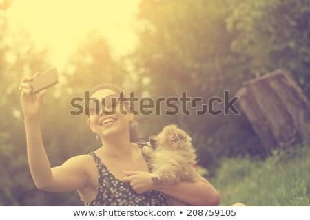 mooie · brunette · park · gras - stockfoto © dash