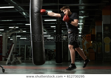 Strong sportsman boxer make sport boxing exercises Stock photo © deandrobot