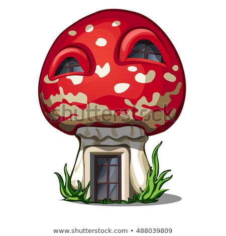 fairy house in the shape of a fly agaric isolated on a white background vector close up cartoon ill stock photo © lady-luck