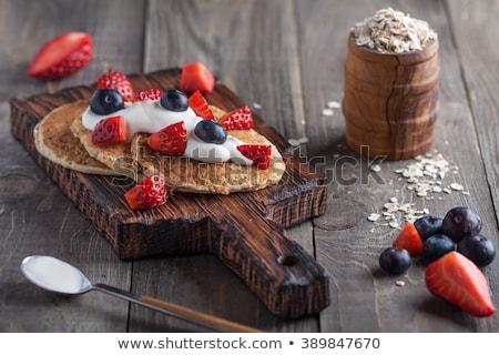 Pancakes cake with yogurt and strawberries stock photo © Melnyk