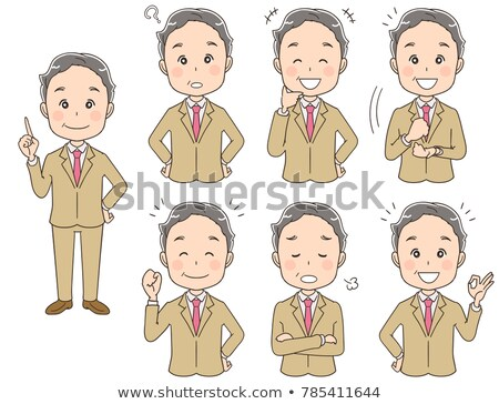 old man poses set vector asian chinese japanese elderly people senior person aged friendly gr stock photo © pikepicture