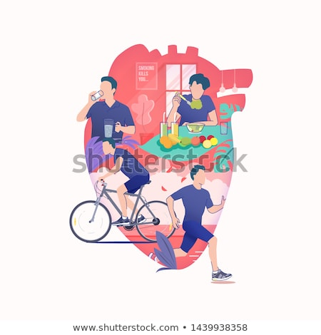 Sport and Diet Healthy Poster Vector Illustration Stock photo © robuart