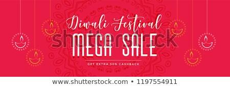 red diwali mega sale banner with hanging diya Stock photo © SArts