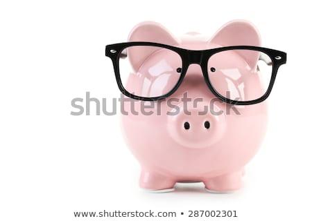Kumbara pembe gözlük beyaz para gözler Stok fotoğraf © sqback