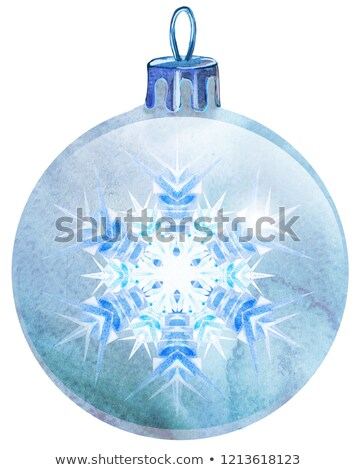 watercolor white christmas ball with snowlake isolated on a white background stock photo © natalia_1947