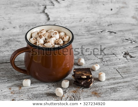 Hot chocolate with marshmallow candies on wooden background. stock photo © Illia