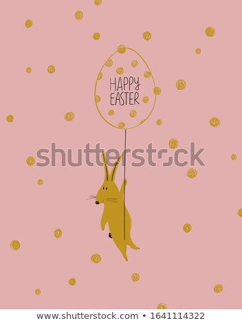 Spring card template with balloons. Pink yellow color. for flyer, poster, banner stock photo © Natali_Brill