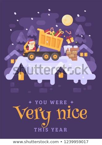 サンタクロース · 黄色 · トラック · 屋上 · プレゼント · 煙突 - ストックフォト © IvanDubovik