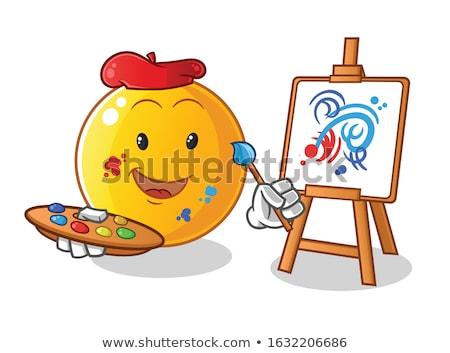 страшно Cartoon художника иллюстрация глядя краской Сток-фото © cthoman