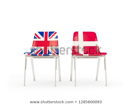 Two chairs with flags of UK and denmark isolated on white Stock photo © MikhailMishchenko