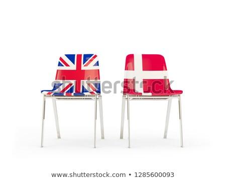 Dois cadeiras bandeiras Dinamarca isolado branco Foto stock © MikhailMishchenko