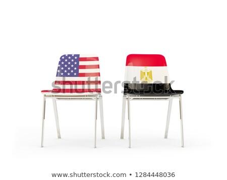 два стульев флагами Египет изолированный белый Сток-фото © MikhailMishchenko