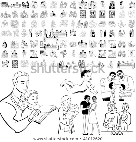 Jew parents with a newborn baby vector illustration isolated on  Stock photo © NikoDzhi
