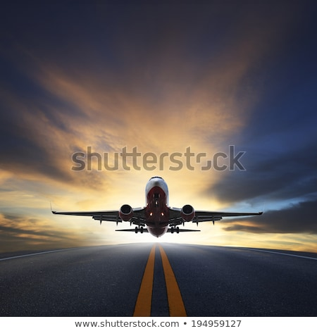 Airplane on the runway taking off Stock photo © colematt