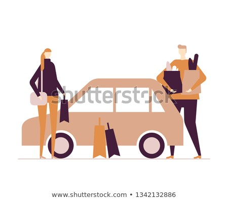 Family after shopping - flat design style colorful illustration Stock photo © Decorwithme