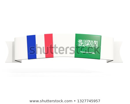 Banner with two square flags of France and saudi arabia Stock photo © MikhailMishchenko