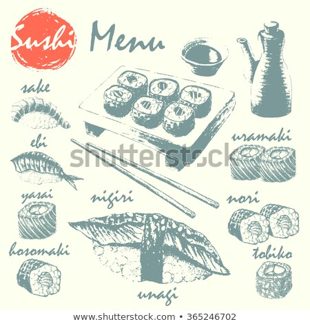 ベクトル 寿司 スケッチ カリフォルニア ロール 黒板 ストックフォト © netkov1