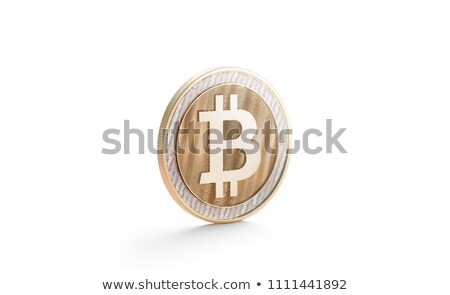 Gold coin cryptocurrency Bitcoin stands on the edge Stock photo © butenkow