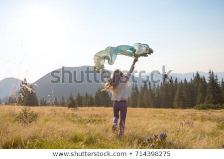 izgatott · lány · fut · park · napos · idő · égbolt - stock fotó © andreypopov