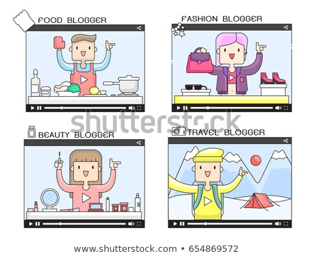 żywności blogging malutki ludzi ogromny smartphone Zdjęcia stock © RAStudio
