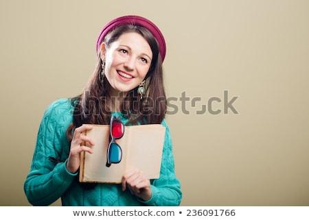 Stock fotó: Fiatal · boldog · barna · hajú · nő · könyv · visel
