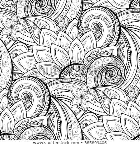 Monochrome Floral Background in Paisley Garden Indian Style Stock photo © lissantee