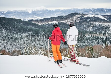 Two skiers stand on a snowy mountainside. Stock photo © ConceptCafe