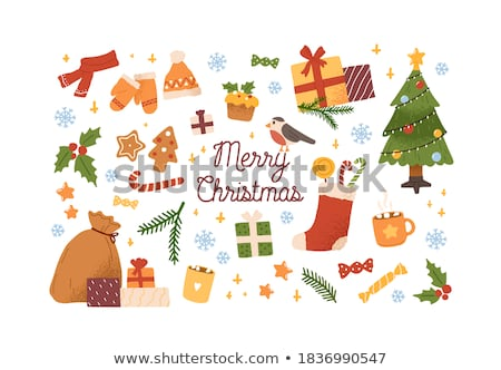 Set of attributes and symbols of New year isolated on white background. Santa Claus, holly. Sketch o Stock photo © Lady-Luck