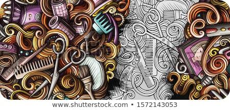 Kuaför karalama afiş karikatür ayrıntılı Stok fotoğraf © balabolka