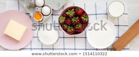 Banner ricetta fragola torta greggio ingredienti Foto d'archivio © Illia