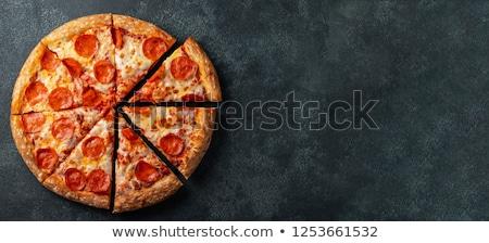 Pizza salami cheddar rustique maison forte Photo stock © Peteer