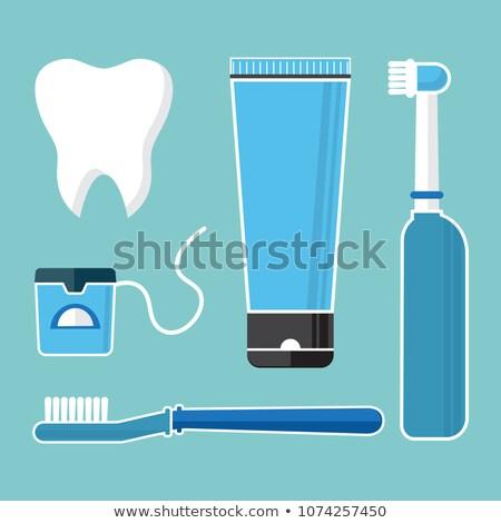 Diş ipi posterler ayarlamak vektör ağız yıkamak Stok fotoğraf © pikepicture
