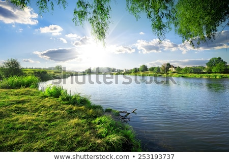 Spring Landscape With Clouds Reflecting In A Pond Stok fotoğraf © givaga