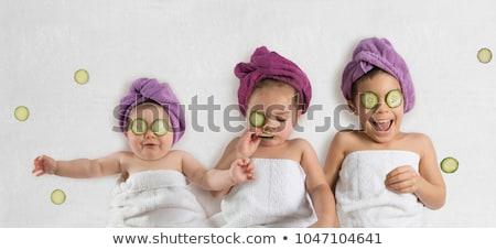 Güzel kardeşler bebek oynama top yalıtılmış Stok fotoğraf © luiscar