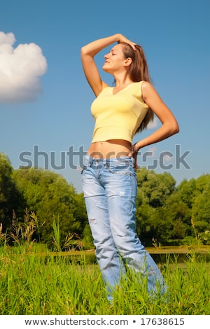 женщину · танцы · солнце · парка · трава · человека - Сток-фото © paha_l