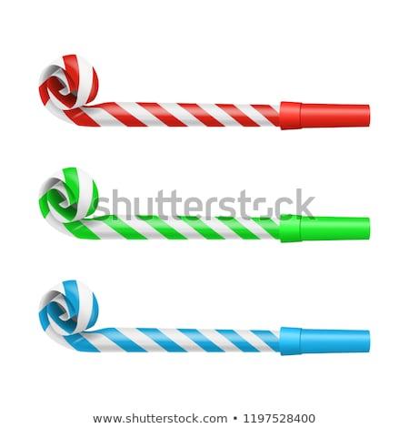 Stockfoto: Partij · geïsoleerd · witte · groene · Blauw · vreugde