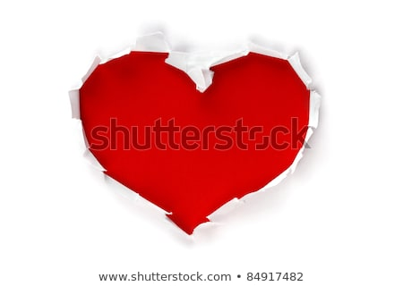 Ripped red paper with white space and heart shape Stock photo © carenas1