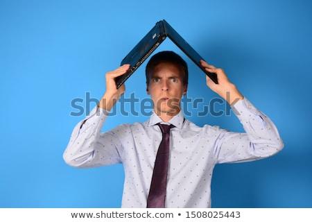 Portret knap jonge man werken laptop freelance Stockfoto © HASLOO