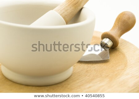 Herb Chopping Devices - Pestle Mortar Mezzaluna Stock photo © frannyanne