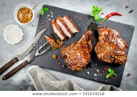grillezett · disznóhús · tányér · piros · villa · paradicsom - stock fotó © artush