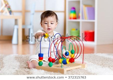 Сток-фото: Игрушки · для · маленьких · детей · таблице · ребенка · синий · весело