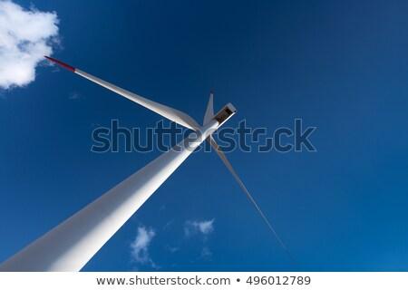 Szél energia turbina elektromos erőmű távvezeték égbolt Stock fotó © stoonn