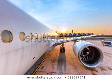 Repülőgép szárny repülőtér jelzőtáblák égbolt tájkép Stock fotó © lunamarina