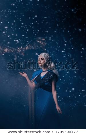 Beautiful blonde woman in masquerade snow white costume. stock photo © Pilgrimego